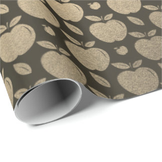 Gold Black Foxier Sepia Metallic Apple Fruits Wrapping Paper