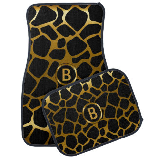 Gold & Black Giraffe Animal Pattern | Monogram Car Mat