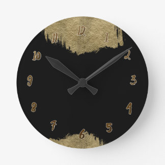 Gold & Black Glam Modern Glamour Chic Personalized Round Clock