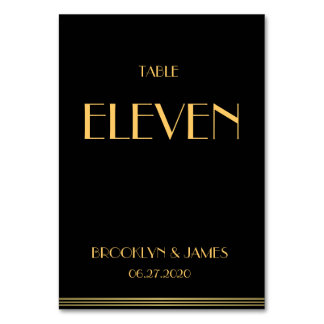Gold Black Great Gatsby Wedding Table Numbers Table Cards