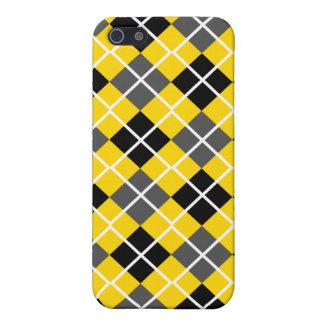 Gold, Black, Grey & White Argyle iPhone 4 Case
