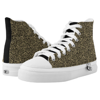Gold & Black Grungey Roses Pattern Zipz Hightops