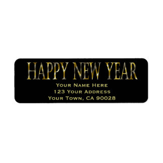 gold black happy new year return address label