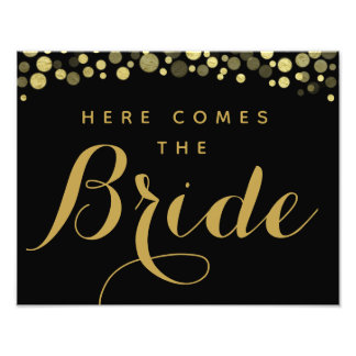 Gold & Black here comes the bride wedding sign
