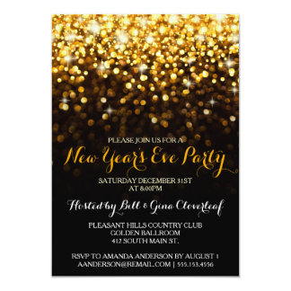 Gold Black Hollywood Glam New Year's Eve Party Card