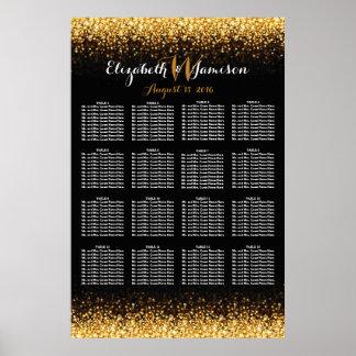 Gold Black Hollywood Glitz Glam Seating Chart