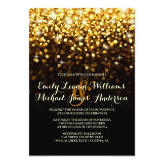 Gold Black Hollywood Glitz Glam Wedding Invitation