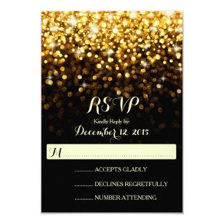 Gold Black Hollywood Glitz Glam Wedding RSVP 9 Cm X 13 Cm Invitation Card