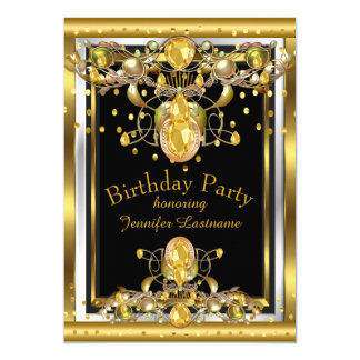 Gold Black Jewelled Birthday Party Invitation