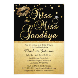 Gold Black Kiss the Miss Goodbye Bridal Shower Card
