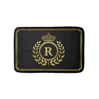 Gold Black Laurel Wreath Crown Royal Monogrammed Bath Mat
