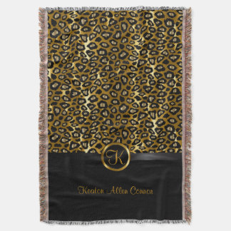 Gold & Black Leopard Animal Pattern Throw Blanket