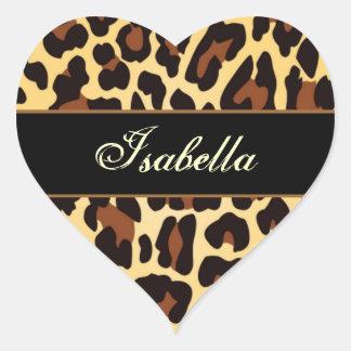Gold Black Leopard Custom Name Heart Sticker