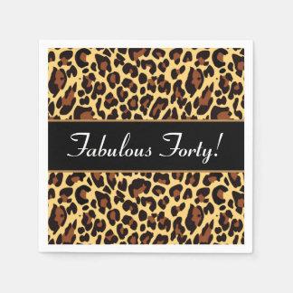Gold Black Leopard Fabulous 40 Birthday A10 Disposable Napkins