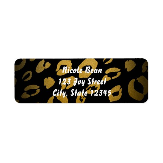 Gold & Black Leopard Print Chic Address Labels