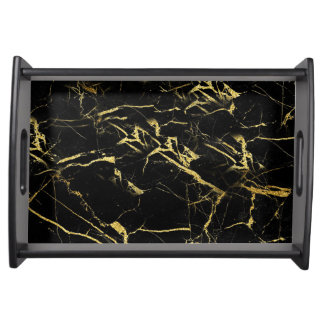 Gold & Black Mable Serving Tray