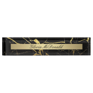 gold black marble nameplate