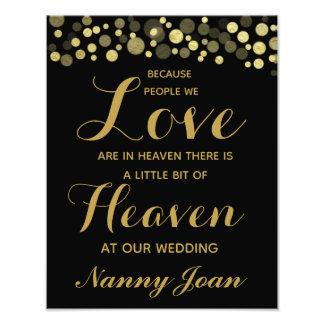 Gold & Black Memorial wedding sign personalised
