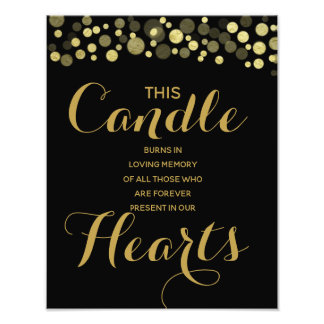 Gold & Black Memory candle sign for wedding