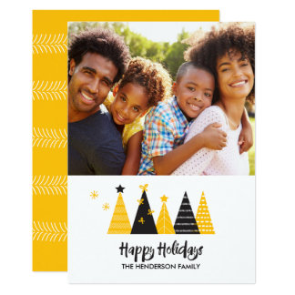 Gold & Black Modern Christmas Trees Card