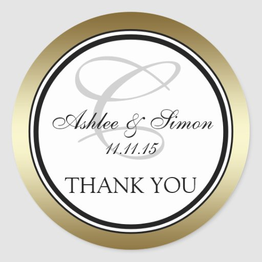 Gold Black Monogram C Wedding Thank You Round Stickers