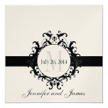 Gold Black Monogram Save the Date Wedding Personalised Announcement