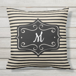 Gold & Black Monogram Striped Outdoor 20X20 Pillow