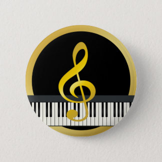 Gold Black Music Symbol Piano Board Clef Notes 6 Cm Round Badge