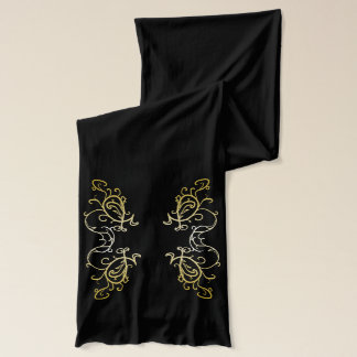 Gold Black Ornate Fashion Chic Scarf