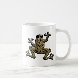 Gold Black Paisley Climbing Frog Coffee Mugs