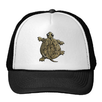 Gold Black Paisley ClimbingTurtle Hats