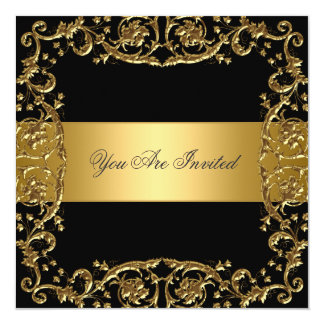 Gold Black Party Invitation Floral Frame