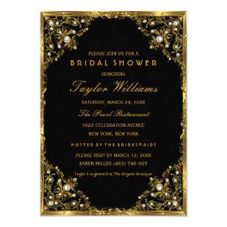 Gold Black Pearl Vintage Glamour Bridal Shower 13 Cm X 18 Cm Invitation Card