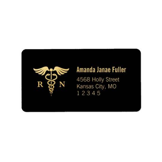 Gold & Black Personalised Nurse Address Label