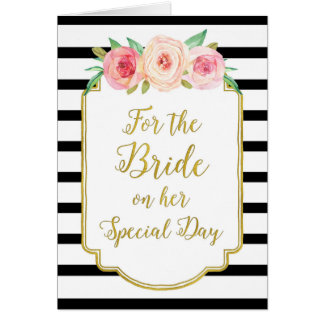 Gold Black Pink Bride Wedding Congratulations Greeting Card