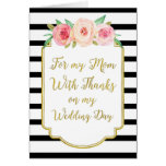 Gold Black Pink Floral Mum Wedding Day Thank You Greeting Card
