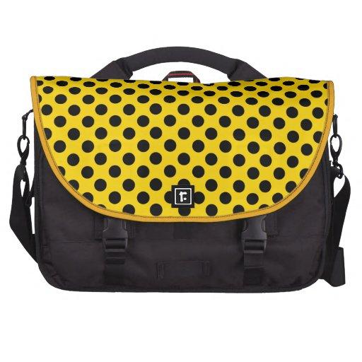 Gold Black Polka Dots Laptop Bag