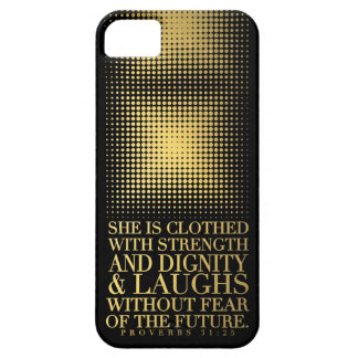 Gold Black Proverbs 31:25 iPhone 5 Cases