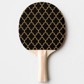 Gold Black Quatrefoil Pattern Ping Pong Paddle
