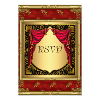 Gold Black Red retro Invitation
