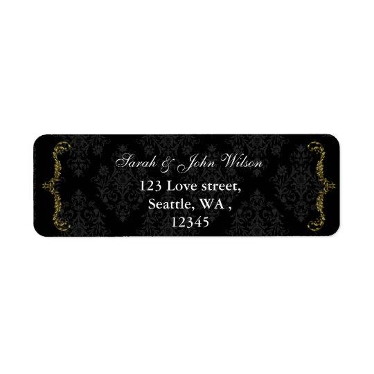 gold black return address label
