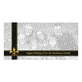Gold Black Ribbon Fleur de Lis Photo Christmas Photo Card