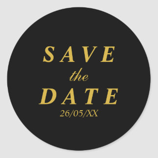 Gold & black save the date classic round sticker