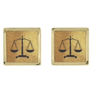 Gold Black Scales of Justice Gold Finish Cuff Links