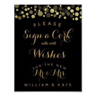 Gold & Black Sign a Cork party or wedding sign