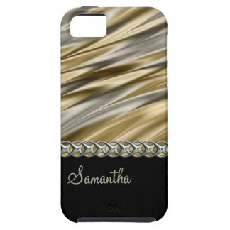 Gold, black, silver chain, monogram case for the iPhone 5