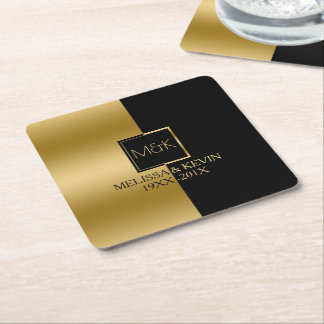 Gold & Black Slick Geometric Design Square Paper Coaster