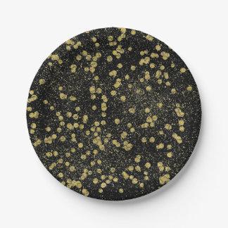 Gold Black Sparkle Confetti Dots Paper Plate