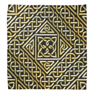 Gold Black Square Shapes Celtic Knotwork Pattern Bandana