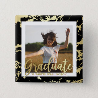 Gold & Black Stains Typography | Photo Graduation 15 Cm Square Badge
